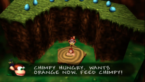 "Chimpy Text Bubble That Reads ""Chimpy hungry, wants orange now. Feed Me!"""
