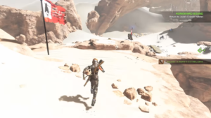 A screenshot of ReCore's barren desert.