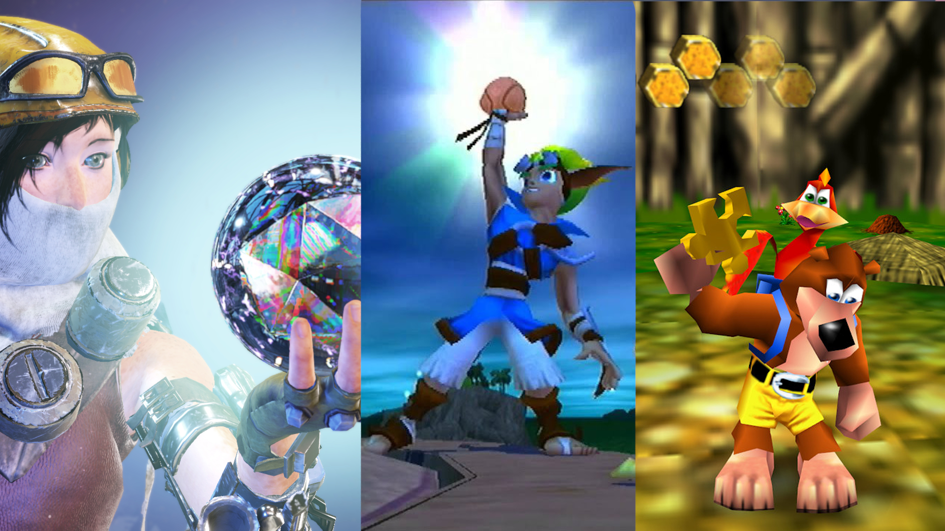 Image With Each Third having the protagonist of a different game. From left to Right: Joule from ReCore, Jak from Jak and Daxter, and Banjo from Banjo-Kazooie