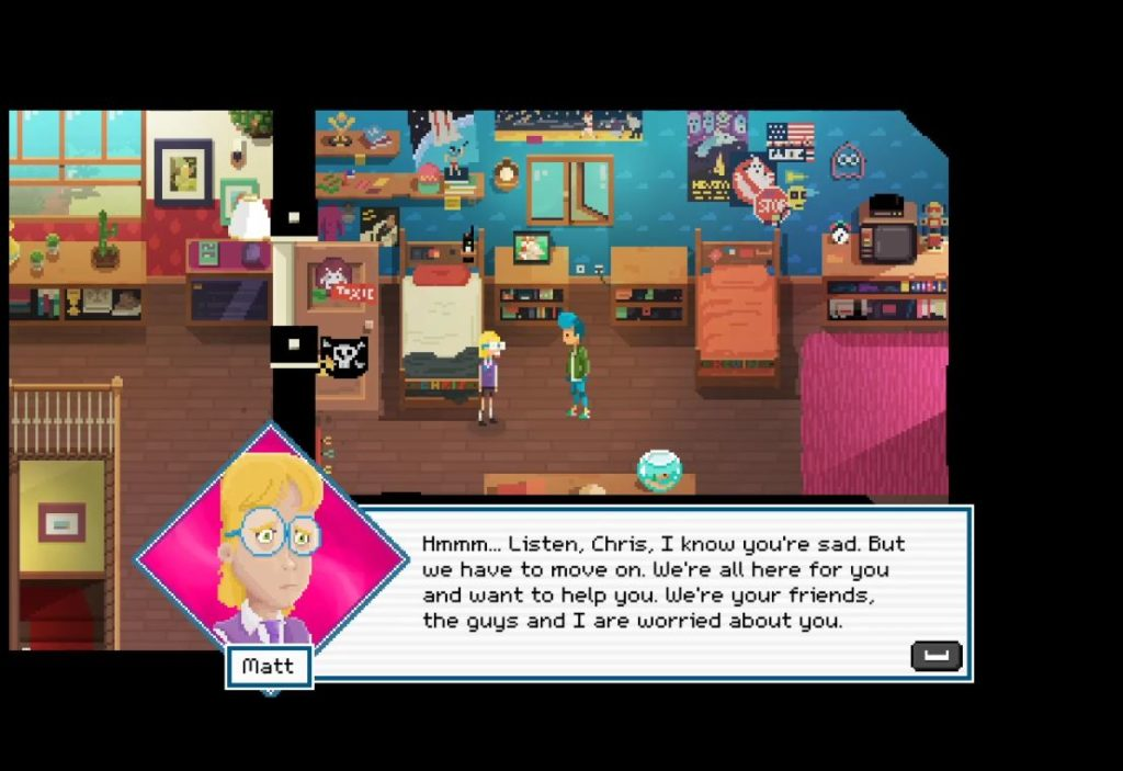 Screenshot of some textbox dialogue from Crossing Souls