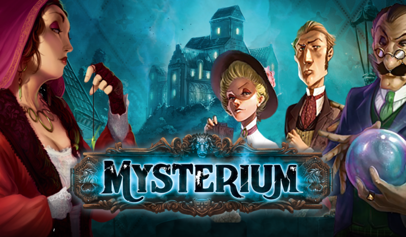 Promotional IA handful of Mysterium's psychics, alongside the logo.